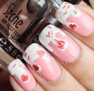 Ice cream drip nails using Bubble Gum by NB Lacquer.