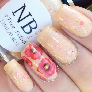 Poppy nails using 'Spring Poppy' by NB Lacquer