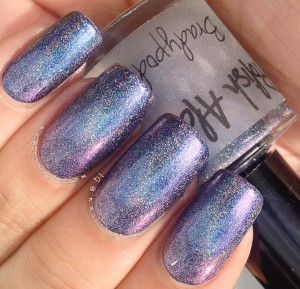 Polish Alcoholic - Bradypodion 2 coats over blue polish.