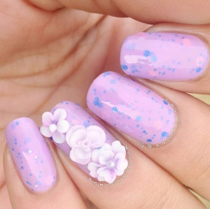 Polish Alcoholic - Nearly naked swatch with hand made acrylic flowers.