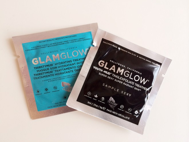 Glam Glow Youth Mud and Thirsty Mud Mask samples
