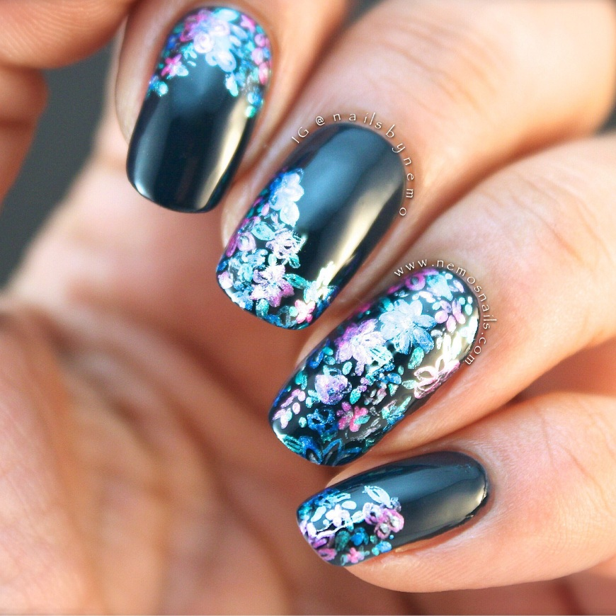 Abstract Flower Nail Art with Louboutin's Lady Page as base colour.