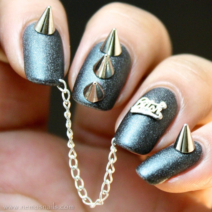 Bitch nail art with chains using Dynamite as base polish with Matte about you top coat from Essie.