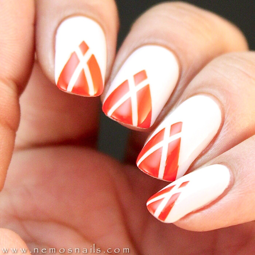 Taped Mani using Victoria Beckham x Nails inc. Judo Red and Bamboo White
