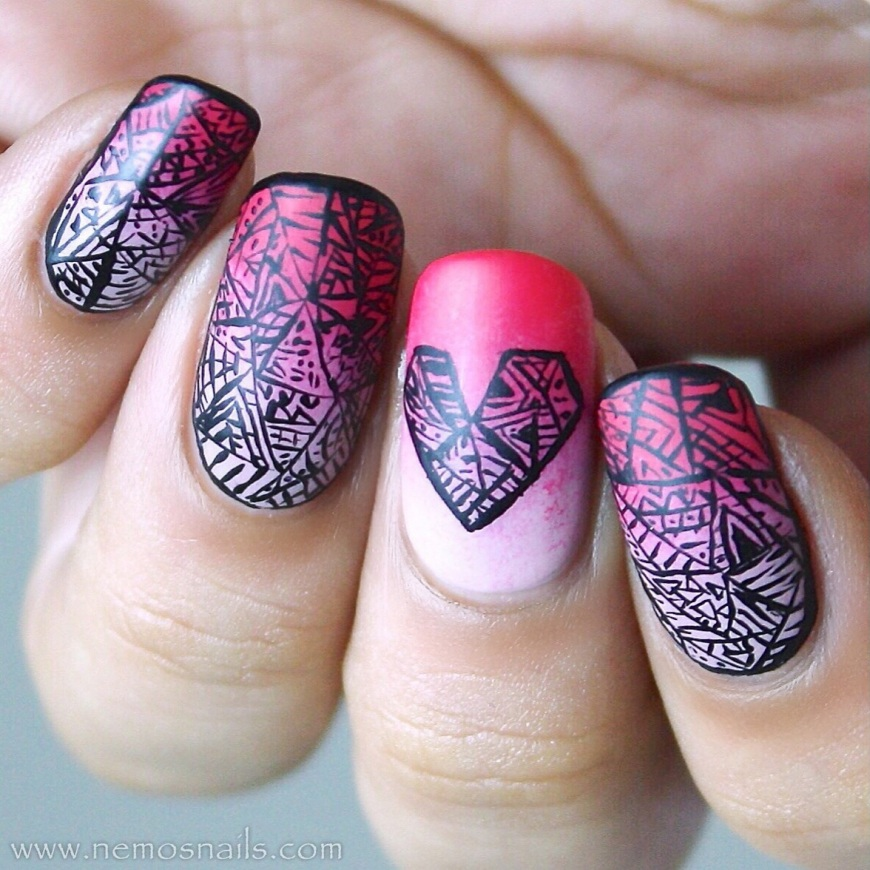 Doodle Heart nails using Dior Kingdom of colour polishes for the gradient